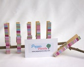 Decorated Wooden Clothes Pins/Pegs, Pink, Blue and Green Stripes - Set of 6 - Pepperpicnic
