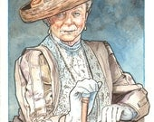 Downton Abbey's The Right Honourable Violet Crawley, Countess of Grantham Watercolor Painting - ScottChristianSava