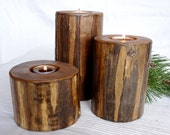 THE LODGEPOLE Candle Holders:  Rustic Hand-peeled Lodgepole Pine Candle Holders - SpeakingMountain