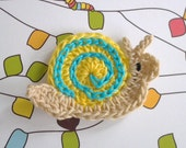 1pc - Cute Snail Crochet Applique in Yellow with Cyan Swirl - appliquefarm