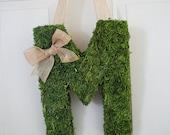 Moss Covered Monogram Letter-Moss Covered Letter Initial Wedding Home Door