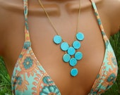Turquoise Bib Necklace. Blue Stone Cascading Drapery Necklace. - cuppacoffee