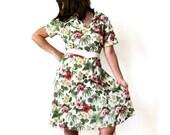 Floral Print Dress - Green Floral Dress