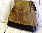 Brown leather and cotton hand embroidered  frame purse - diohej