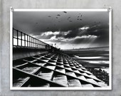 Crosby Steps dramatic black and white seaside view, beach steps winter sky cold birds flying - 10x8 inch photograph photo print - EyeshootPhotography