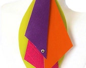 Neon Color Block Leather Earrings - Yellow, Fuchsia, Orange, Purple
