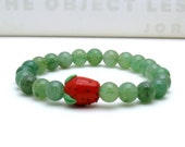 Green Aventurine Strawberry Lampwork Bracelet - Fields / Garden Juicy Mom Easter