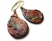 Crazy paisley boho earrings, polymer clay jewelry, Indian batik, henna inspired - MoonsafariBeads