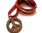 ON SALE Upcycled/Recycled Tshirt Necklace - Tie Dye Tshirt Yarn with Wooden Peace Sign Pendant