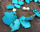 Turquoise Slices, Pearls, Rhinestone Rondelles and Swarovski Crystals Sterling Silver Necklace and Earrings - RagayJewelry