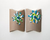 recycled kraft pillow box gift wrap for mothers day, earth day, graduation, babyshower, wedding. white blue green flower, set of 2 - greenbugmarketplace