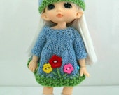 Lati/Pukifee Blue Flower Knitted Dress and MAtching Hat 0070