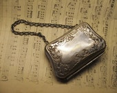 decorative vintage metal repousse coin purse with chain - Antiquesofromance