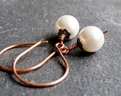 Handmade  Earrings  -  Copper Jewelry, White, Crystal Earrings,  Mixed Metal, Swarovski Jewelry, Handmade Jewelry - hildes