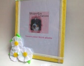 One of a kind Mothers Day 8x10 picture frame in summer yellow velvet with handmade felt daisys and shimmering ribbon accent