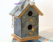 Celestial Birdhouse Suncatcher Beaded Mixed Media Bohemian Summer Garden Decor - rrizzart
