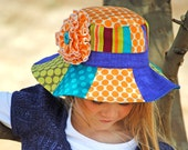 Girls Hat Sewing Pattern PDF Girls Flower Hat Pattern Patchwork Hat for Boys and Girls Reversible Sizes X Small to X Large Summer Daze Hat - AngelLeaDesigns