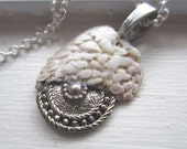 Organic shell pendant - pewter dome white sea shell Vicking