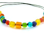 Resin Nursing Necklace  - Bright Rainbow - Non Toxic Breastfeeding Necklace  /Babywearing Necklace