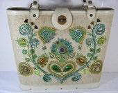 Vintage 60s ENID COLLINS Jeweled Floral BAG Summer Purse Handbag Tote