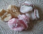 3 pairs of hand knitted booties for a baby girl 0 - 6 months approx.