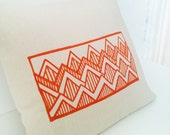 Tangerine Mountains Original Pen Hand Drawing Throw Pillow Cover.