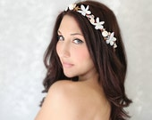 Seashells Starfish & Jasmin, Beach Wedding Flower Crown, White Tiara, wedding accessory, bridal headpiece - LAYLA - - deLoop