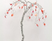 Palm Tree Wire Sculpture with Coral Beads