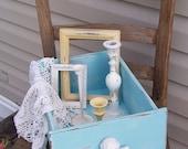Blue Vintage Drawer, Cottage Box, Shabby Chic Decor, Bedroom Decor - RepurposedTreasure4U