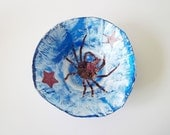 Recycled paper bowl -eco blue sea life home decor, distressed newspaper, ooak - pErix
