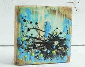 Bluebird Original Encaustic Painting Turquoise Bird Tree Wood - susannajarian