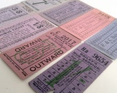 Vintage British tickets, set in pink and violet colour hues - vintagecuriosityshop