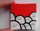 Acrylic Painting On Canvas - Original - Tiny Miniature Painting - Red Cheps