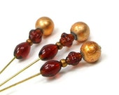 Counting Pins Needlepoint Marking Pins Amber Copper Topaz - TJBdesigns