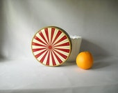 Vintage Metal Tin Bahlsen's Striped Cookie Tin Biscuit Tin Canister Circus Carnival Round Tin Sewing Storage - VintageEye