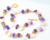 Amethyst, Pearl, Swarovski, Vermeil Statement Necklace Womens Gemstone OOAK