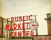 Pikes Market Seattle Travel Photography - red and beige clock, vintage wall art, urban city print, home decor - 8x8 - MaleahTorney