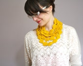 Perle Knit Necklace Cowl Scarf- Sunshine Yellow - NeekaKnits