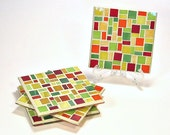 Stained glass mosaic coaster set red yellow orange lime green - threesisterscandles