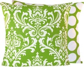 "Green Pillow Decorative Cover 18""x18"", Chartreuse Green, White, Damask and Dot Circles, Key Lime Pie Collection - ChloeandOliveDotCom"