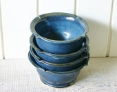 Hand Thrown Mediterranean Ceramic Bowls in Deep Blue Ocean - Set of 4 - BackBayPottery
