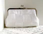 White silk clutch purse, woven clutch bag, Bridal clutch, bridal fashion - toriska