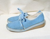 1980s Vintage 'Forget Me Not' Blue Pumps / Deck Shoes from Marks and Spencer UK 4 - EU 37 - USA 6.5 - CecilyRoseVintage