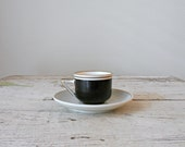 Vintage Demitasse Cup and Saucer - Royal Sphinx Maastricht, Holland, N.A.S.M., in Black and Gold - bergenhouse