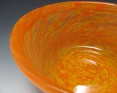 Blown Glass Bowl - Yellow Orange Blown Glass Bowl with folded lip - Handmade Glass - OOAK Glass - KennethMarineGlass