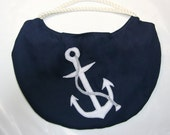 Beach Bag  Navy Nautical Anchor  with Rope Handles Lined - appletotesandco
