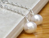 White Pearl Earrings Sterling Silver White Freshwater Pearl Dangle  - Classic - CCARIA