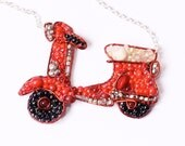 Beaded Scooter Necklace inspired by the Vespa - LucyJewellery