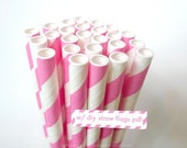 Princess PINK Paper Straws Pink and White Striped Straws - set of 25 Pink Straws w/ DIY Straw Flag PDF - PaperStrawsParty