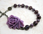 Purple Rose Victorian Beaded Necklace w Pearl and Glass Beads - Reverie in Indigo - MysticWynd